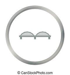 bro, ikon, cartoon., singel, byggnad, ikon, från, den, storstad, infrastruktur, cartoon.