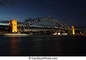 bro, landmarks., hamn, en, dens, öppnat, hack, sydney,...