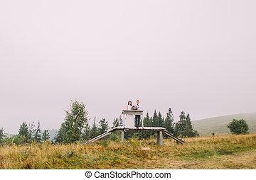 bro, mountains, trä, par, ung, bröllop, söt