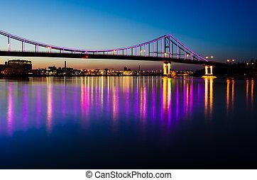 bro, natt, kyiv, landskap, stad