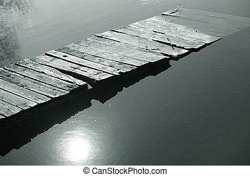bro, på, den, flod