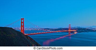 bro, solnedgang, låge, gylden