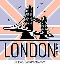 bro torn, vektor, london, affisch