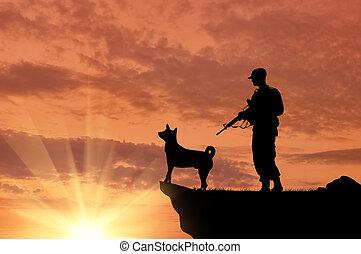 bro, wojsko, sylwetka, psy