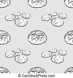 Broa seamless pattern greyscale drawing. Useable for ...