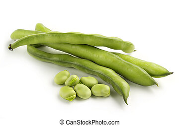 broad bean pods and seeds on white background