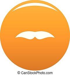 Broad mustache icon vector orange