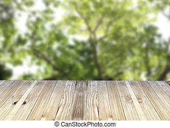 Broad planks and tree in garden of blur background. - Broad...