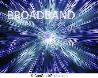 Broadband illustration, showing information transfer and...