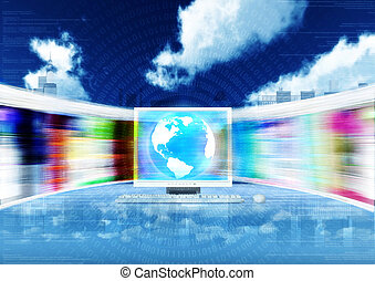 Broadband internet concept - Fast internet concept with...