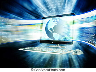 Broadband Internet - Concept of fast internet browsing with...