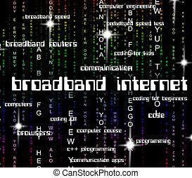 Broadband Internet Represents World Wide Web And Computing
