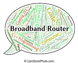 Broadband Router Means World Wide Web And Computer