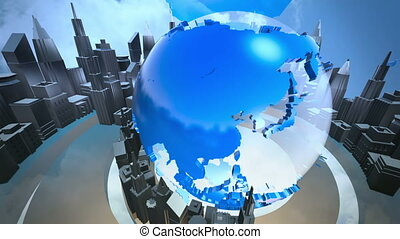 Broadcast earth globe animation