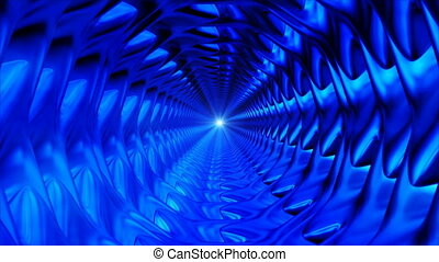Broadcast Endless Hi-Tech Tunnel, Blue, Industrial, Loopable, 4K