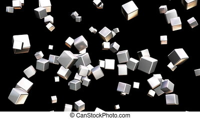 Broadcast Falling Hi-Tech Cubes, Grayscale, Abstract, Loopable, HD