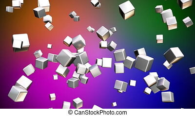 Broadcast Falling Hi-Tech Cubes, Multi Color, Abstract, Loopable, HD