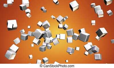 Broadcast Falling Hi-Tech Cubes, Orange, Abstract, Loopable, HD