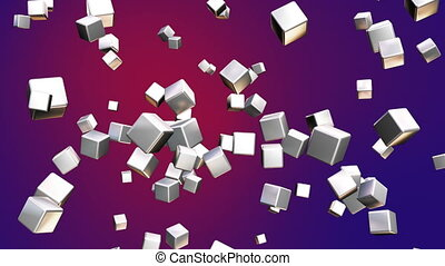 Broadcast Falling Hi-Tech Cubes, Red Purple, Abstract, Loopable, HD