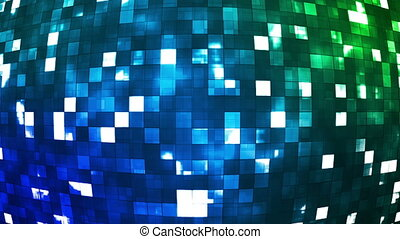 Broadcast Firey Light Hi-Tech Squares Globe, Blue, Abstract, Loopable, HD