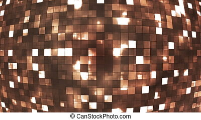 Broadcast Firey Light Hi-Tech Squares Globe, Brown, Abstract, Loopable, HD