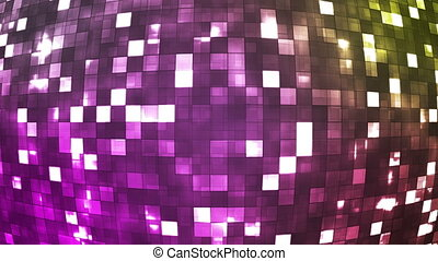 Broadcast Firey Light Hi-Tech Squares Globe, Pink, Abstract, Loopable, HD
