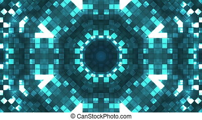 Broadcast Firey Light Hi-Tech Squares Kaleidoscope, Blue, Abstract, Loopable, HD