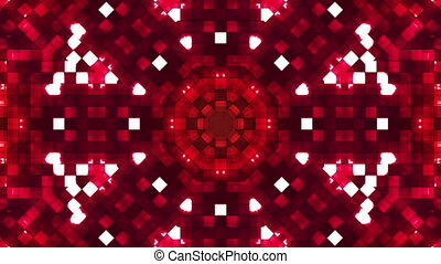 Broadcast Firey Light Hi-Tech Squares Kaleidoscope, Red, Abstract, Loopable, HD