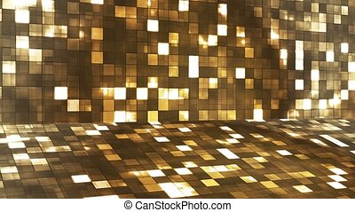Broadcast Firey Light Hi-Tech Squares Stage, Golden Brown, Abstract, Loopable, 4K