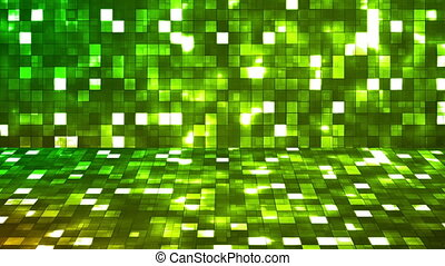 Broadcast Firey Light Hi-Tech Squares Stage, Green, Abstract, Loopable, HD
