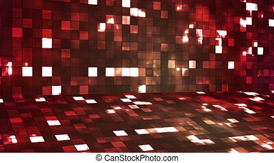 Broadcast Firey Light Hi-Tech Squares Stage, Red, Abstract, Loopable, HD