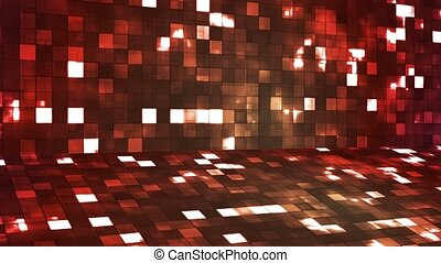Broadcast Firey Light Hi-Tech Squares Stage, Red Orange, Abstract, Loopable, 4K