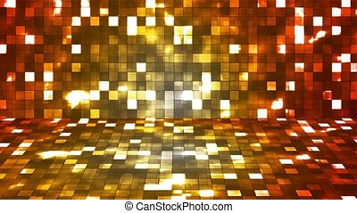 Broadcast Firey Light Hi-Tech Squares Stage, Red Yellow, Abstract, Loopable, 4K