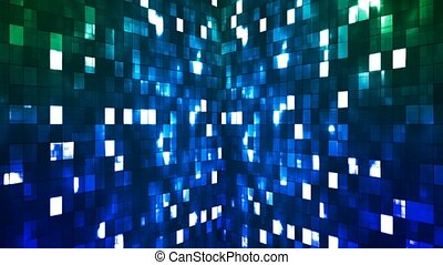 Broadcast Firey Light Hi-Tech Squares Walls, Blue Green, Abstract, Loopable, 4K