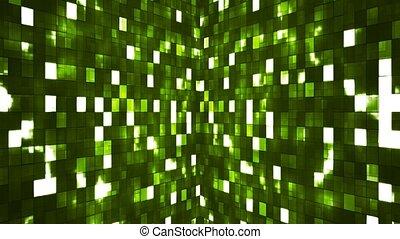Broadcast Firey Light Hi-Tech Squares Walls, Green,...
