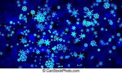 Broadcast Hi-Tech Flying Snow Flakes, Blue Purple, Holidays, 3D, Loopable, 4K