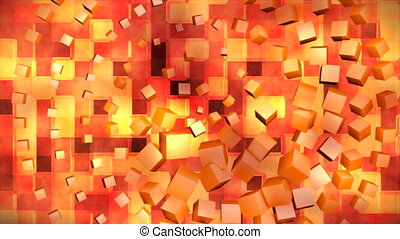 Broadcast Hi-Tech Spinning Cubes Squares, Orange, Abstract, 3D, Loopable, 4K