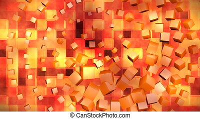 Broadcast Hi-Tech Spinning Cubes Squares, Orange, Abstract, 3D, Loopable, HD