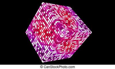 Broadcast Hi-Tech Twinkling Spinning Diamond, Magenta Purple, Alpha Channel, Loopable, HD