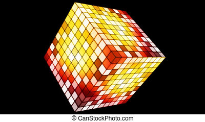 Broadcast Hi-Tech Twinkling Spinning Cube, Yellow, Alpha...