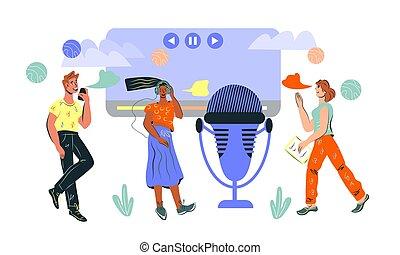 broadcast., ledande, direkt, lyssnande, podcast, folk, ...