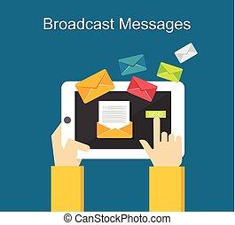 Broadcast messages on gadget concept illustration.