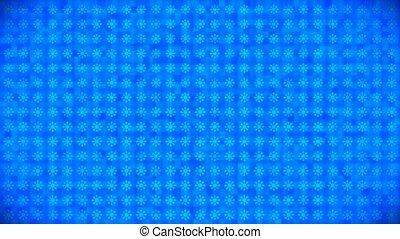 Broadcast Pulsating Rotating Hi-Tech SnowFlakes, Blue, Holidays, 3D, Loopable, 4K