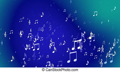 Broadcast Rising Music Notes, Blue, Events, Loopable, HD