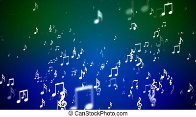 Broadcast Rising Music Notes, Green Blue, Events, Loopable, 4K