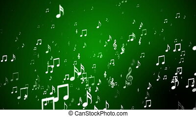 Broadcast Rising Music Notes, Green, Events, Loopable, HD