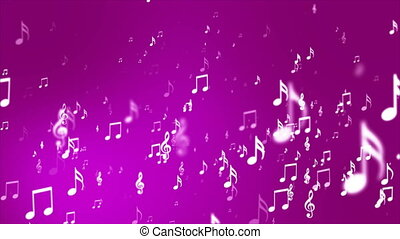 Broadcast Rising Music Notes, Magenta, Events, Loopable, 4K...