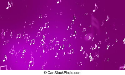 Broadcast Rising Music Notes, Magenta, Events, Loopable, HD