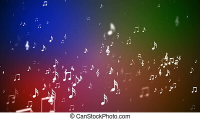 Broadcast Rising Music Notes, Multi Color, Events, Loopable, HD