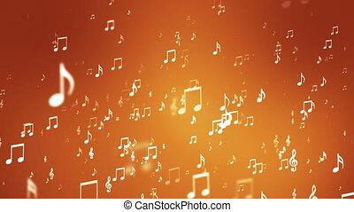 Broadcast Rising Music Notes, Orange, Events, Loopable, HD